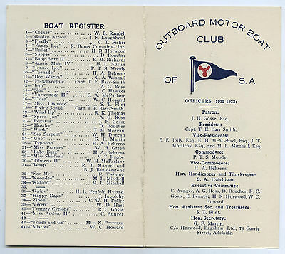 1932-33 Outboard Motor Club Of South Australia Race Programme Boat Register.