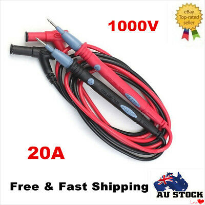 1 Pair Digital Multimeter Multi Meter Test Lead Probe Pen Cable 1000V 20A