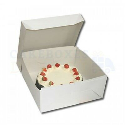 50 x White Folding 2 Piece Cake Box CHOOSE YOUR SIZE
