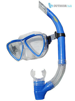 TWF Kids Snorkelling Mask & Snorkel Set Childrens Swimming Diving Blue Age 4-9