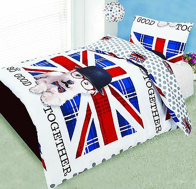 Love2Sleep COT BED 120 X 150 COTTON RICH DUVET COVER SET – VERY BRITISH PUP