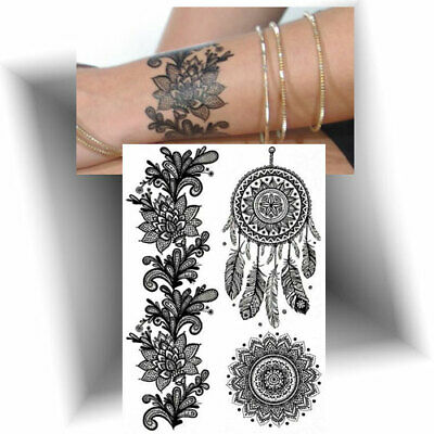 tatouage temporaire noir bracelet boh me eur 3 90 picclick fr. Black Bedroom Furniture Sets. Home Design Ideas