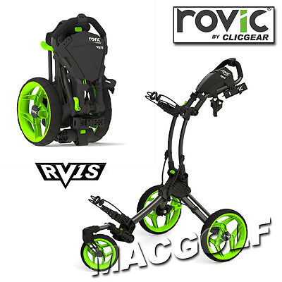 Clicgear Rovic RV1S 3-Rad Golf Trolley in Charcoal Black / Lime Ausführung.
