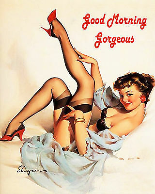 Good Morning Pinup - Vintage Art Print Poster - A1 A2 A3 A4 A5