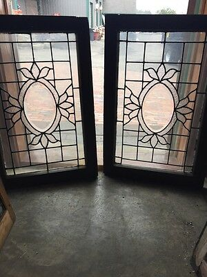 Sg 540 Matched Pair Antique Oval Beveled Center Windows