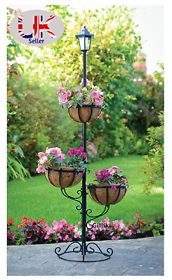 New  Solar Powered 3 Tier Flower Stylish Planter With White LED Light