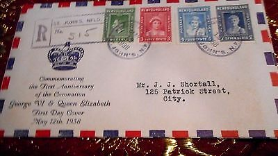 1938 Newfoundland Royal Family First Day Cover (Fdc) Illustrated And Registered