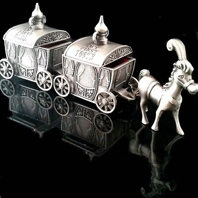 ADORABLE Baby Tooth Curl Cinderella Pewter Carriage Newborn Baby Shower Gift