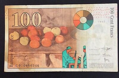 1997 100 cent Francs France Banknote - c 010680346 circulated condition