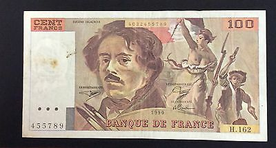 1990 100 Francs France Banknote - 455789  circulated condition