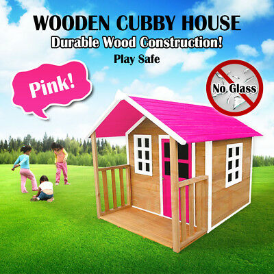 Pink Wooden Cubby House Outdoor Playhouse Durable Wood Construction No Glass