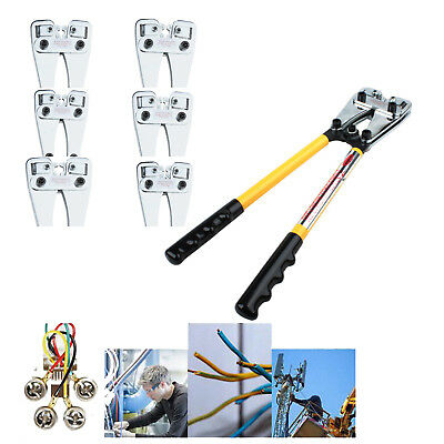 6-50mm² Wire Terminal Crimping Ratchet Tool Cable Lug Crimper Plier w/ 6 Dies