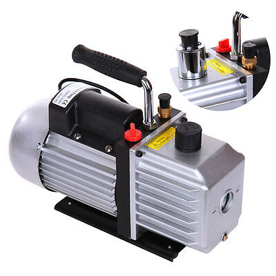 5CFM 1/3HP Rotary Vane Single Stage Vacuum Pump Refrigerant Air Conditioning AC