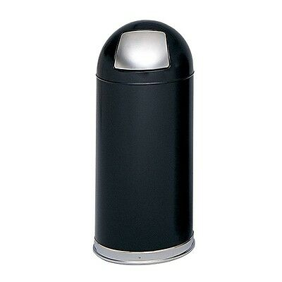 Dome Top Trash Can, Push Door, 15 Gallon, Black