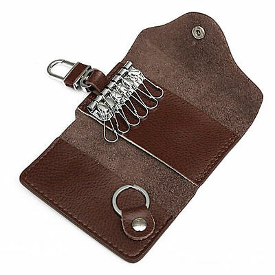 Fashion Genuine Leather Men's Key Holder Accessory 6 Key Chain Wallet Case