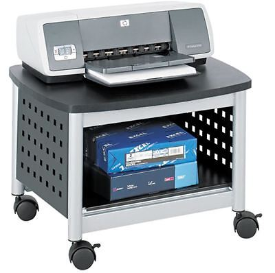 Safco Black & Silver Scoot Mobile Printer Stand Shelf Desk Cart Gray For Office