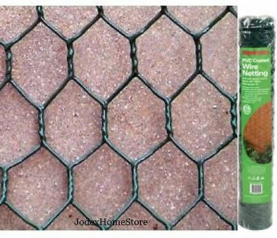 Green PVC coated chicken wire mesh netting fence 10mt length x 25mm hole size