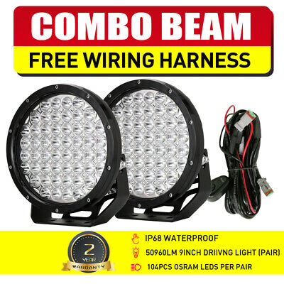 Pair 9inch 99999W CREE Round LED Driving Light Head Work Lights Offroad 4WD SPOT
