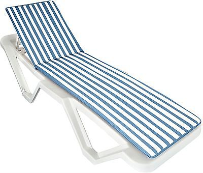Blue / White Sun Lounger Cushion Pad. Padded For Sunlounger Garden Patio Bed x1