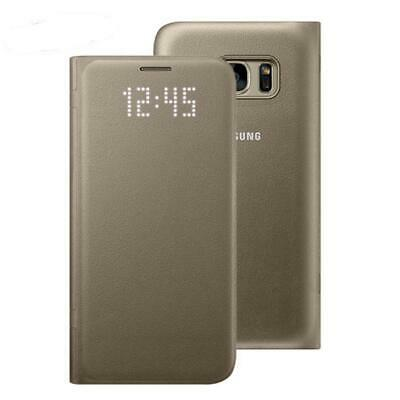 New Genuine Samsung Galaxy S7 Gold Led Flip Wallet Card Holder Case Cover