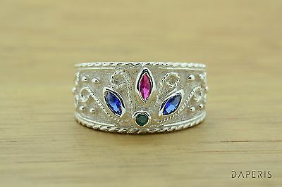 Emerald Ruby Sapphire Byzantine Band Cz Ring Sterling Silver Greek Jewelry Art