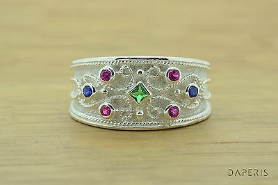 EMERALD RUBY SAPPHIRE RING ETRUSCAN BYZANTINE STERLING SILVER Greek Jewelry