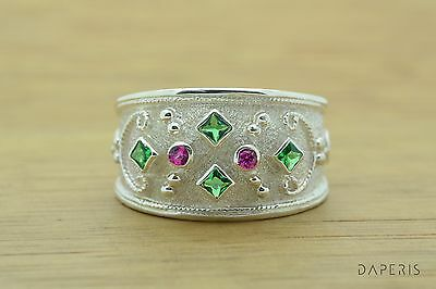 Emerald Ruby Byzantine Band Cz Ring Sterling Silver Greek Jewelry Handmade 925