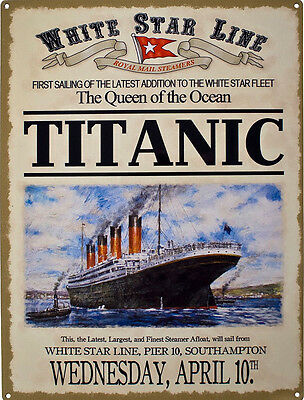 TITANIC Advert, Southampton Launch, Steam Ship Boat Liner, Small Metal Tin Sign