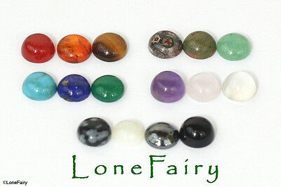 Genuine Gemstone 6mm Round Flat Back Cabochons Jewellery Beads Moonstone Amber