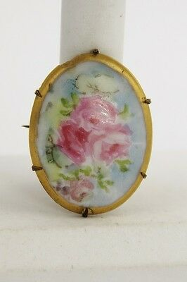 ANTIQUE VICTORIAN Jewelry HAND PAINTED PORCELAIN PINK CABBAGE ROSES BROOCH