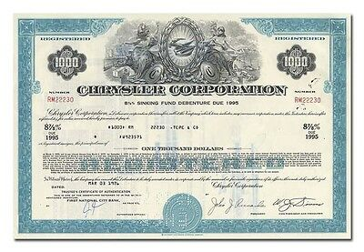 Chrysler Corporation Bond Certificate