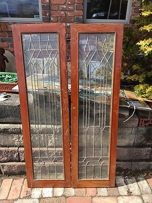 Sg 560 1Pair Antique Oak Leaded Glass Cabinet Doors