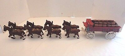Vintage Cast Iron 8 Clydesdale Horse Beer Wagon with 25 Wood Barrels Budweiser