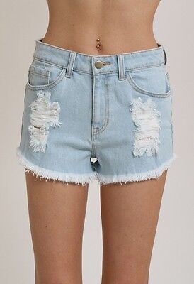 [Wholesale] 8 Pcs. Light Denim High Waist Cut-Off Jean Shorts (1S, 2M, 3L, 2Xl)