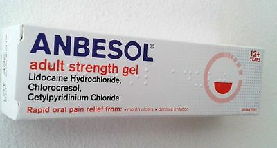 ANBESOL ADULT STRENGTH GEL -MOUTH ULCER PAIN GEL 10g**Free Delivery**