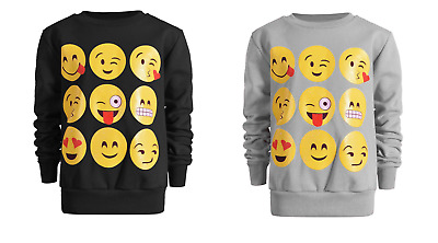 Emoji Jumper Sweat Shirt Girls Smiley Top Emoticon 7-13 Year Expression Boys