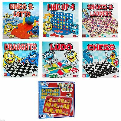 Traditional Childs Board Games Guess Who's Who Line Up 4 Chess Ludo Chess Snakes