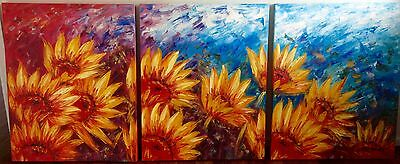 Canvas oil painting Sunflower triptych