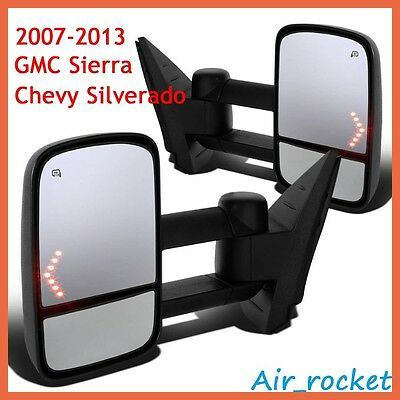 Pair Power Heated LED Signal Towing Mirrors for 07-13 Chevy Silverado 1500/2500