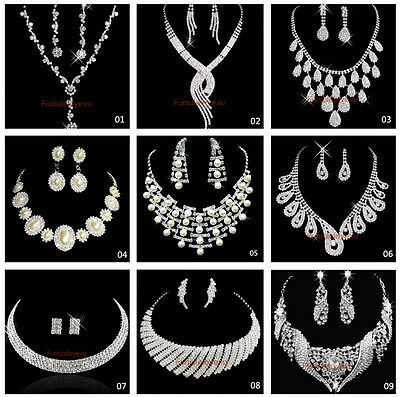 2019 New Wedding Party Bridesmaid Crystal Necklace Earrings Bridal Jewelry Sets