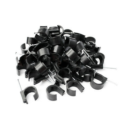 Cable Clips Black Wire Fastener Circle Diameter Round Network Holder with Nail