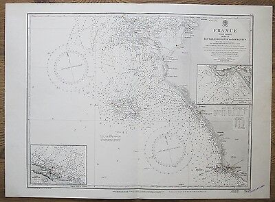 1924 France Les Sables D'olonne To Bourgneuf Genuine Vintage Admiralty Chart Map