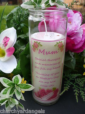 Memorial Candle - Personalised and suitable for outdoors. Mother's Day Design
