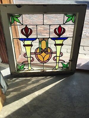 Sg 561 Antique Olympic Torches Stainglass Window Beautiful Colors