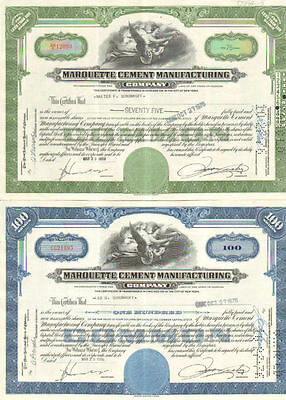 Marquette Cement Manufacturing Company Set of 2 Illinois stock certificate