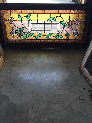 Sg 588 Antique Floral Vine Transom Window Beveled Glass Center