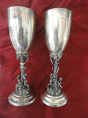 Antique Sterling Silver Pare Of Two Wine Glasses