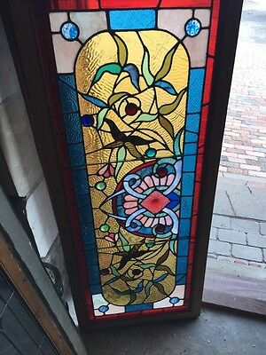 Sg 594 Magnificent Antique Victorian Stained Glass Transom Window