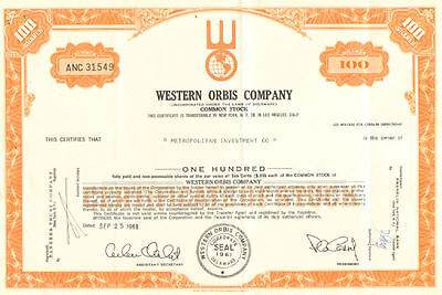 Western Orbis Company > 1969 L.A. real estate share stock certificate