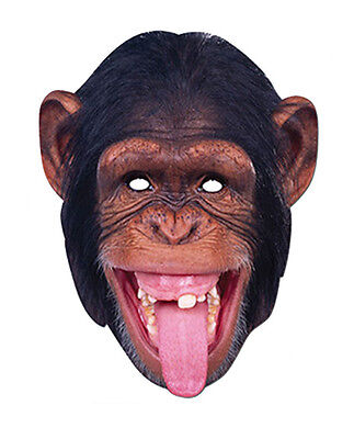 Chimpanzee Animal 2D Card Party Face Mask Fancy Dress Up Zoo Exotic Theme